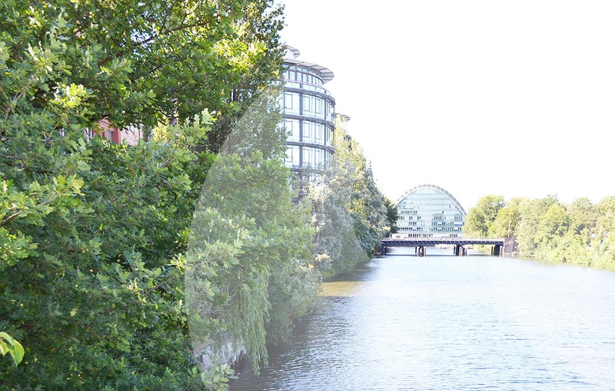 Ruhige Wasserlage Hamburg City Süd Büros mieten